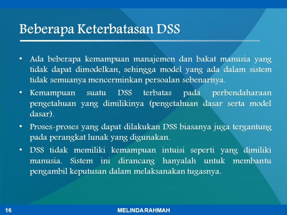 Beberapa Keterbatasan DSS