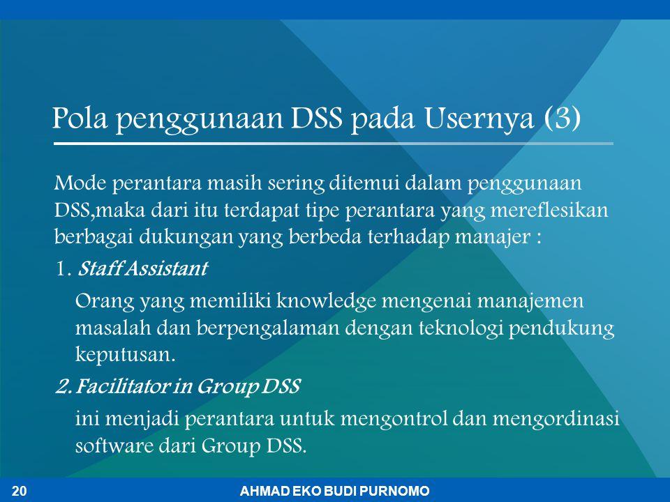 Pola penggunaan DSS pada Usernya (3)