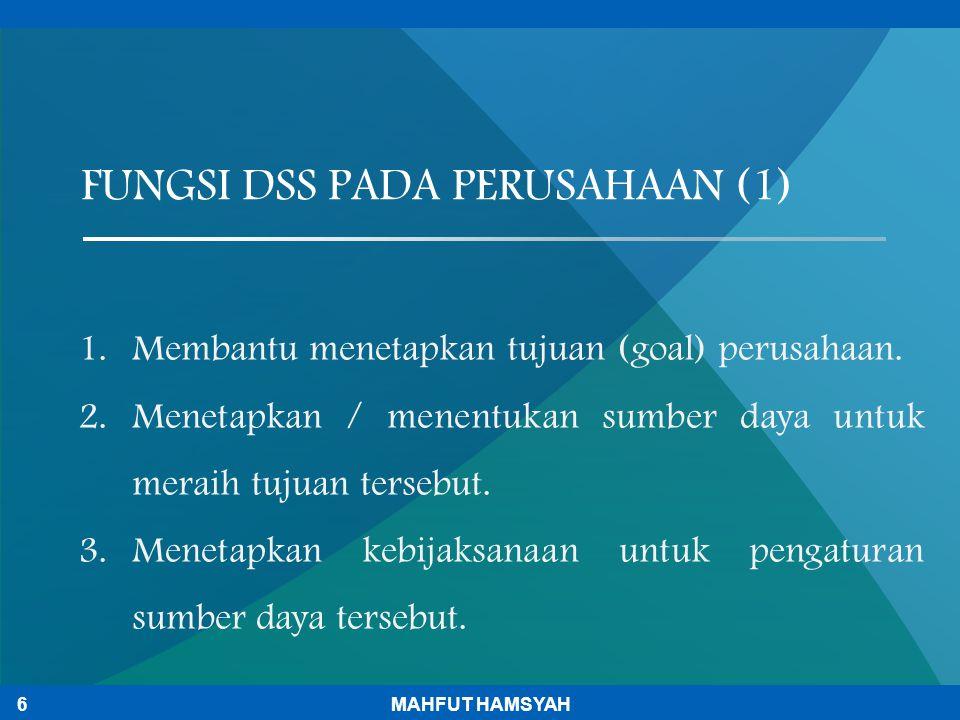 FUNGSI DSS PADA PERUSAHAAN (1)