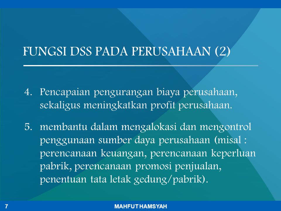 FUNGSI DSS PADA PERUSAHAAN (2)