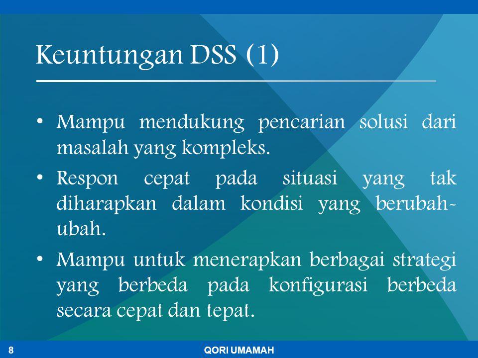 Keuntungan DSS (1) Mampu mendukung pencarian solusi dari masalah yang kompleks.