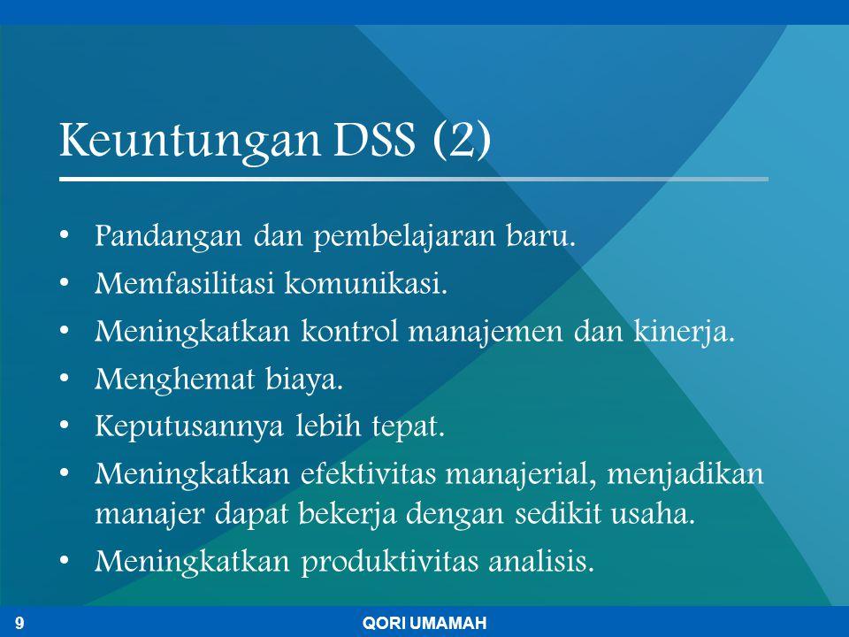 Keuntungan DSS (2) Pandangan dan pembelajaran baru.