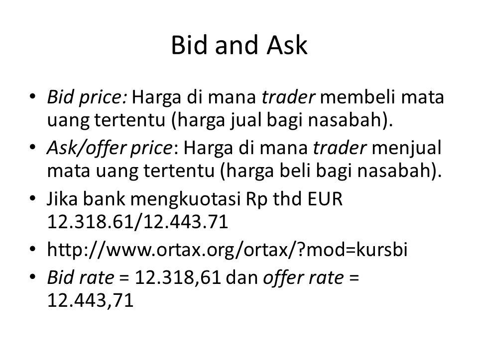 Bid and Ask Bid price: Harga di mana trader membeli mata uang tertentu (harga jual bagi nasabah).
