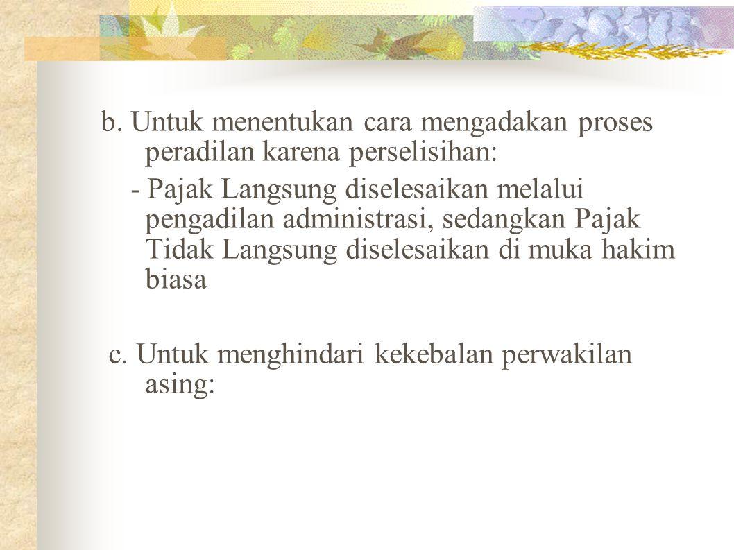 b. Untuk menentukan cara mengadakan proses peradilan karena perselisihan:
