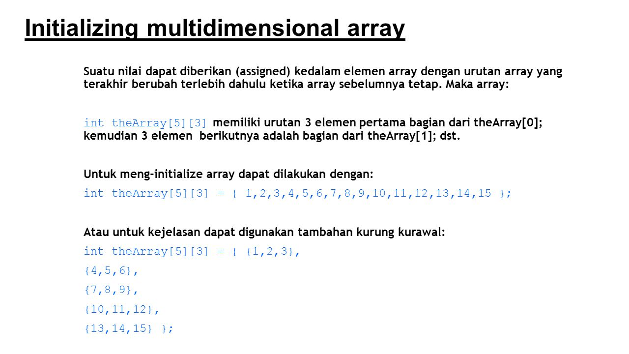 Initializing multidimensional array