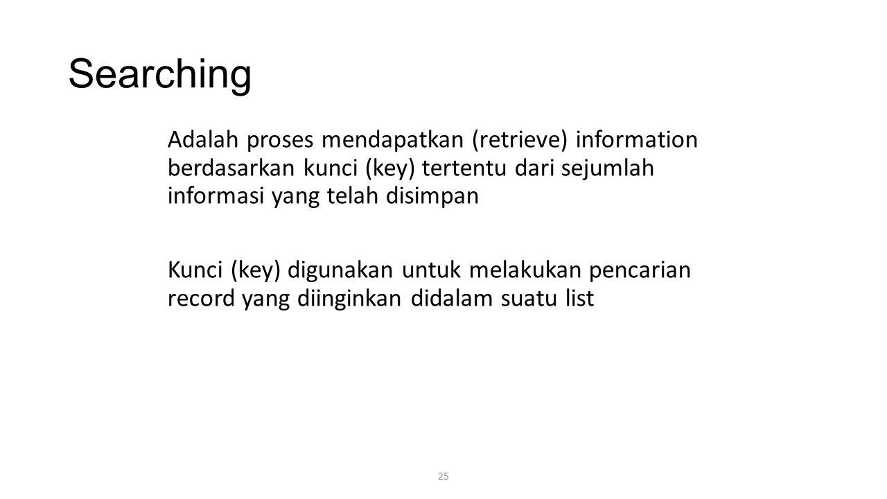 Searching Adalah proses mendapatkan (retrieve) information berdasarkan kunci (key) tertentu dari sejumlah informasi yang telah disimpan.