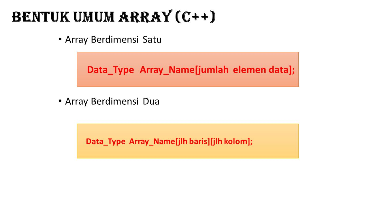 Bentuk Umum Array (C++)