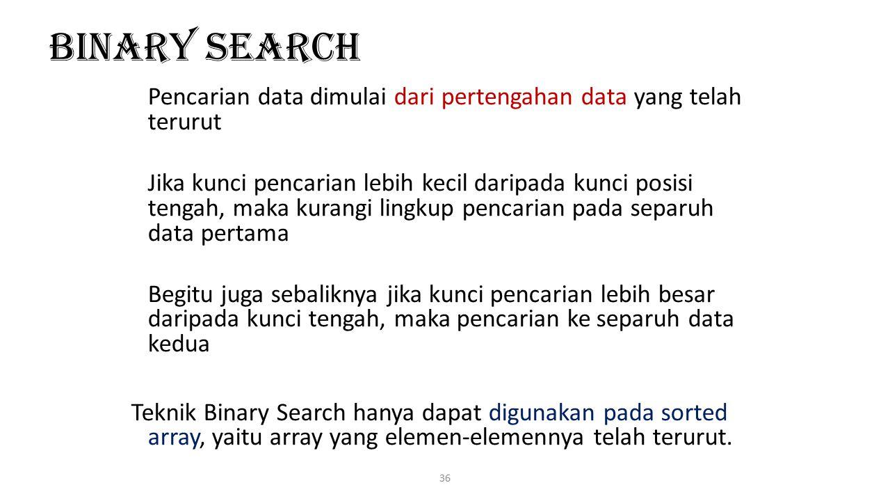 Binary Search Pencarian data dimulai dari pertengahan data yang telah terurut.
