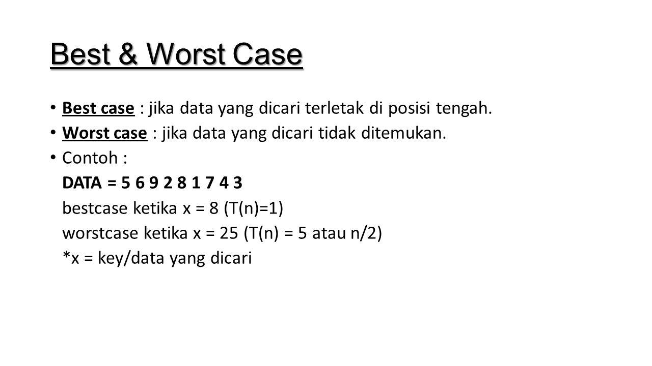 Best & Worst Case Best case : jika data yang dicari terletak di posisi tengah. Worst case : jika data yang dicari tidak ditemukan.