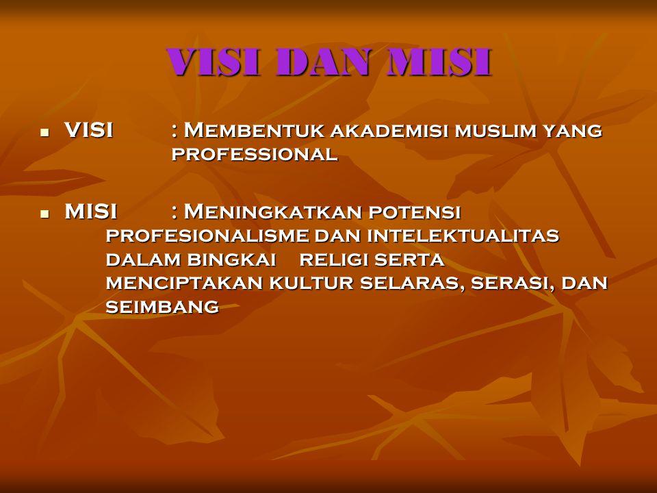 VISI DAN MISI VISI : Membentuk akademisi muslim yang professional