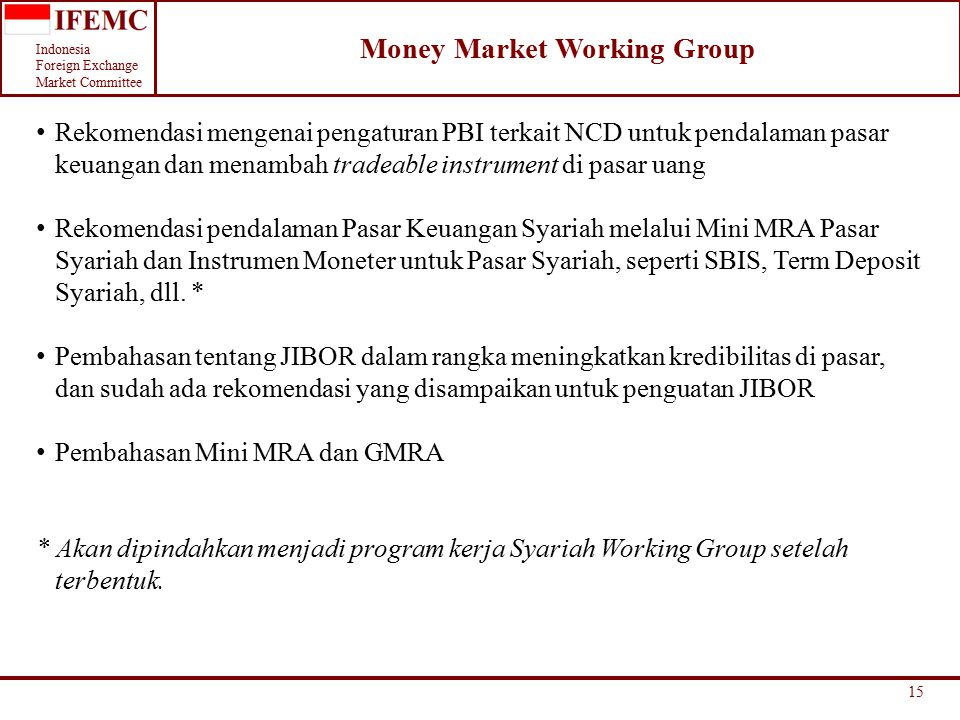 Money Market Working Group