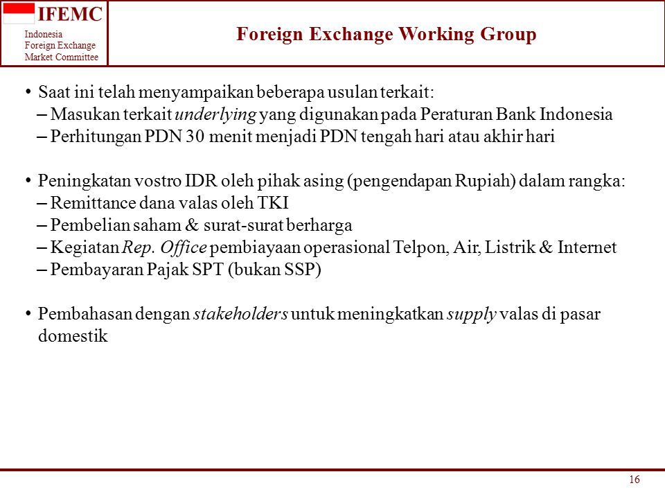 Foreign Exchange Working Group