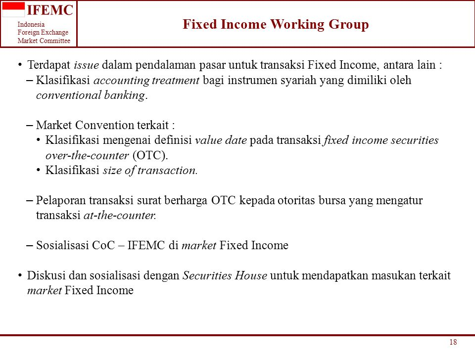 Fixed Income Working Group