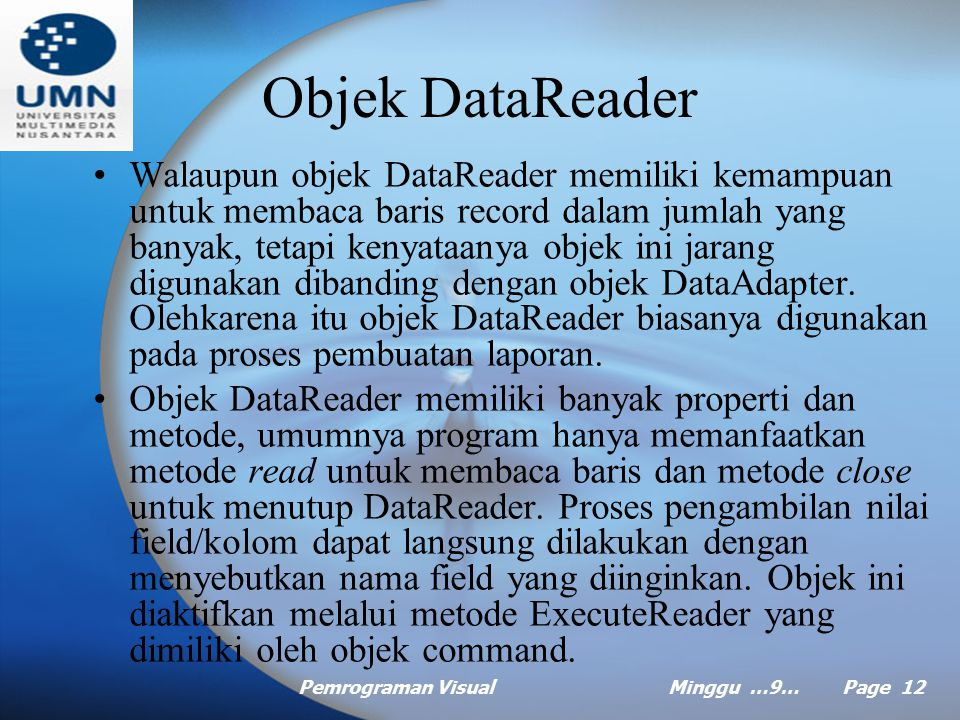 Objek DataReader