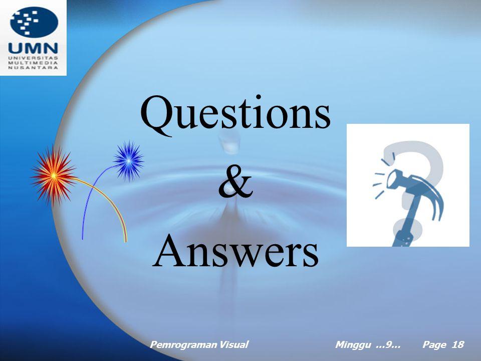 Questions & Answers Pemrograman Visual