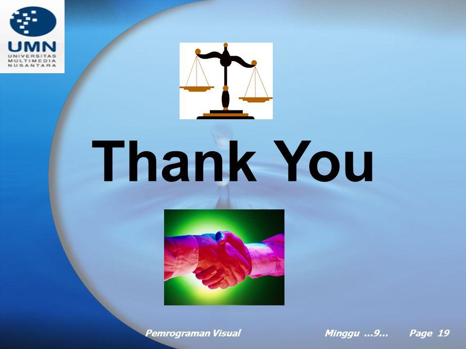 Thank You Pemrograman Visual