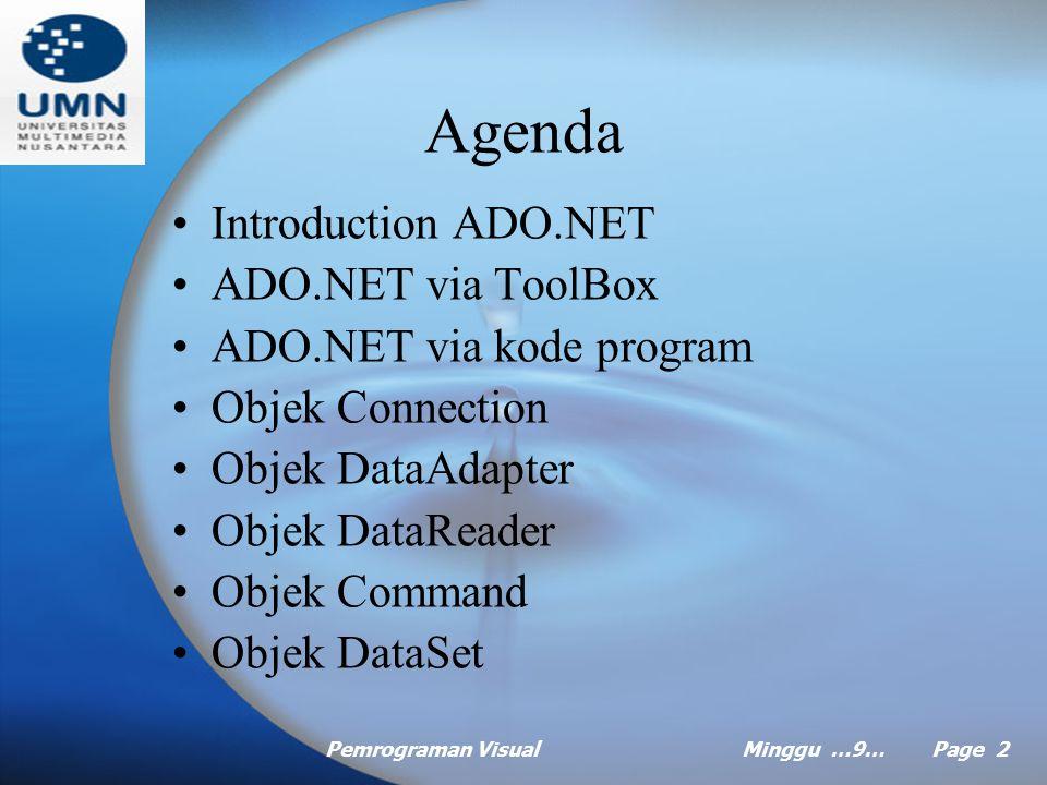Agenda Introduction ADO.NET ADO.NET via ToolBox