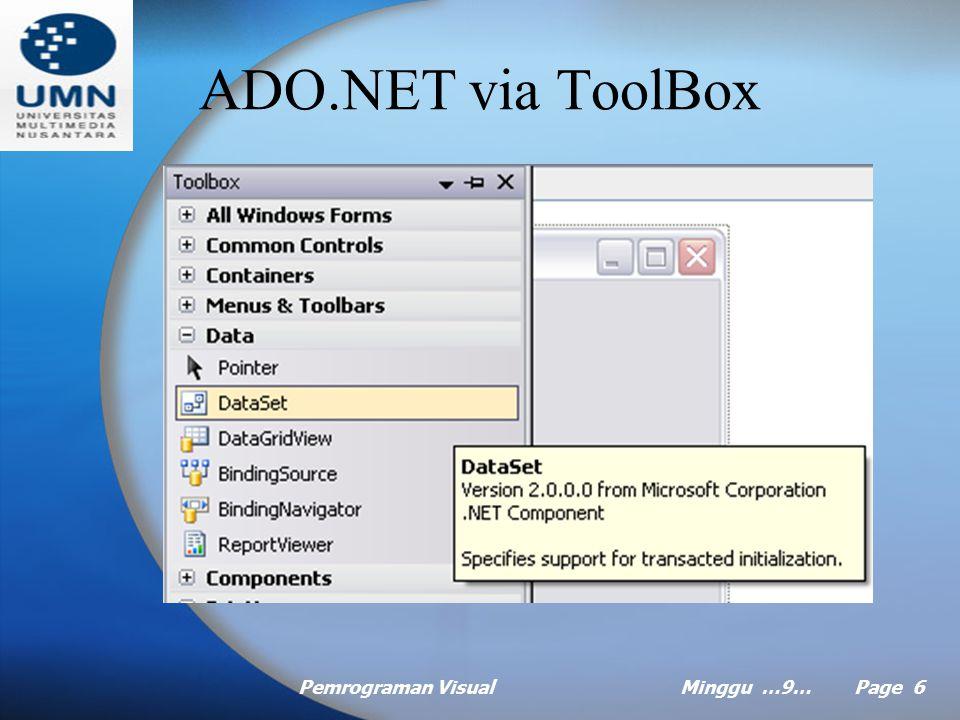 ADO.NET via ToolBox Pemrograman Visual