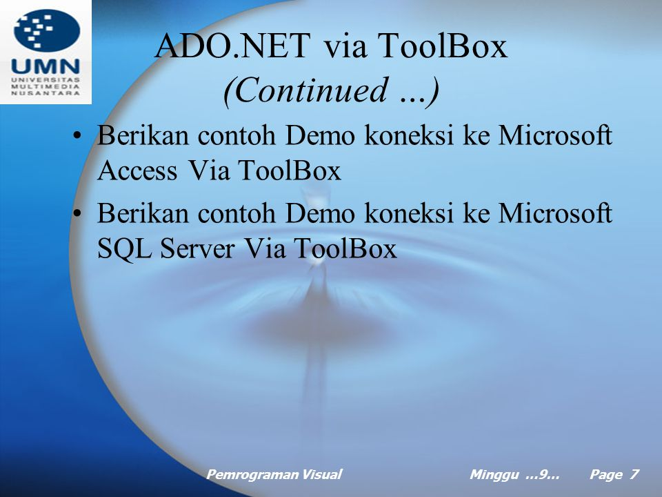 ADO.NET via ToolBox (Continued …)
