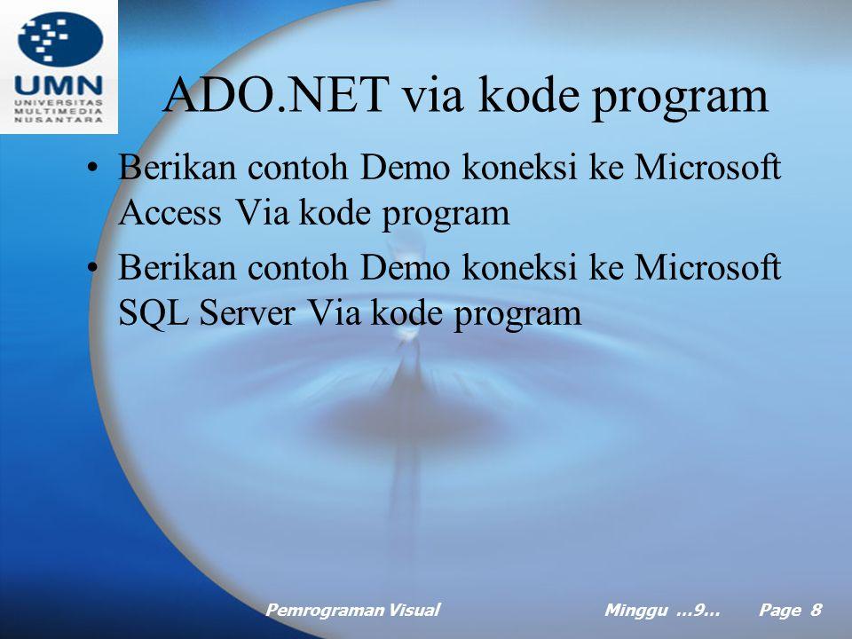 ADO.NET via kode program