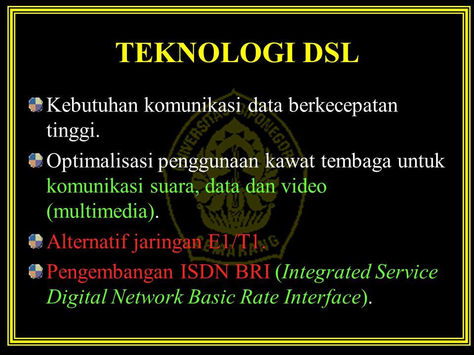 TEKNOLOGI DSL Kebutuhan komunikasi data berkecepatan tinggi.
