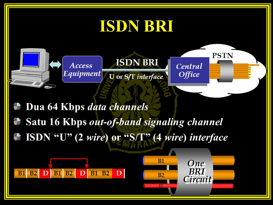 ISDN BRI Dua 64 Kbps data channels