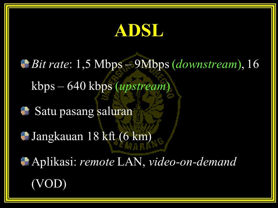ADSL Bit rate: 1,5 Mbps – 9Mbps (downstream), 16 kbps – 640 kbps (upstream) Satu pasang saluran. Jangkauan 18 kft (6 km)