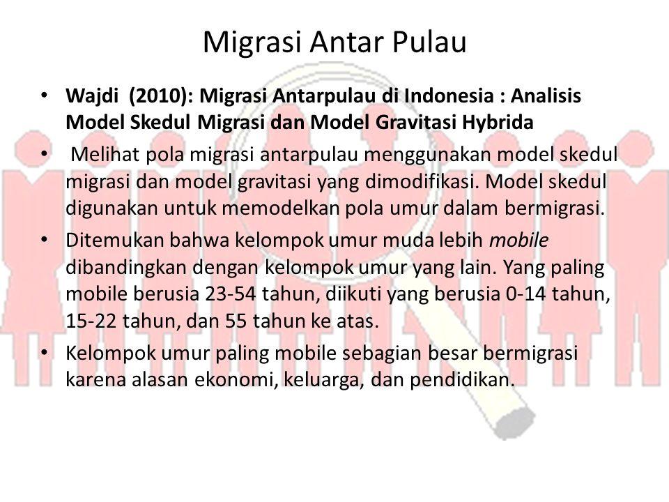 Migrasi Antar Pulau Wajdi (2010): Migrasi Antarpulau di Indonesia : Analisis Model Skedul Migrasi dan Model Gravitasi Hybrida.