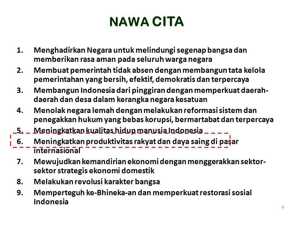 NAWA CITA Menghadirkan Negara untuk melindungi segenap bangsa dan memberikan rasa aman pada seluruh warga negara.