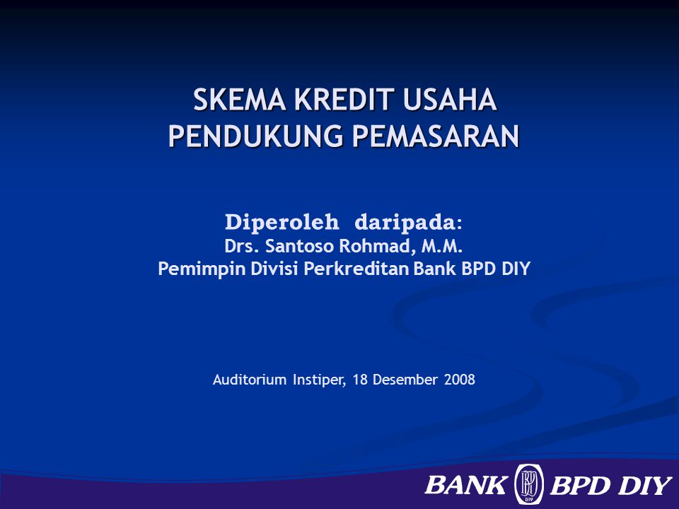 Pemimpin Divisi Perkreditan Bank BPD DIY