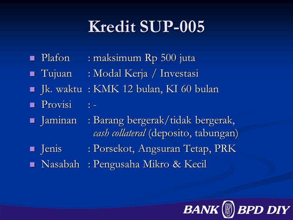 Kredit SUP-005 Plafon : maksimum Rp 500 juta