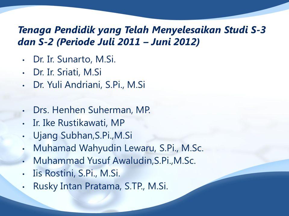 Tenaga Pendidik yang Telah Menyelesaikan Studi S-3 dan S-2 (Periode Juli 2011 – Juni 2012)