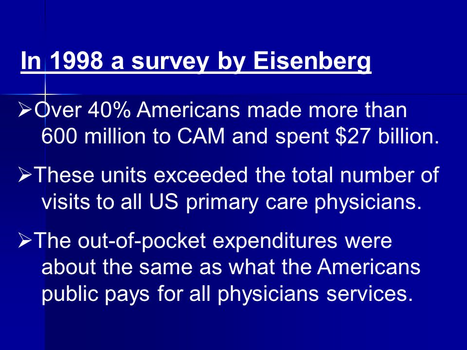 In 1998 a survey by Eisenberg