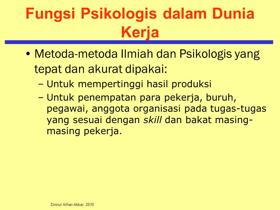 Fungsi Psikologis dalam Dunia Kerja