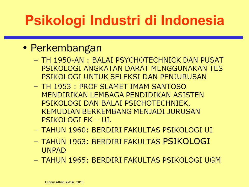 Psikologi Industri di Indonesia
