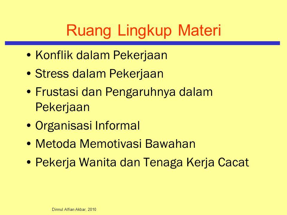Ruang Lingkup Materi Konflik dalam Pekerjaan Stress dalam Pekerjaan