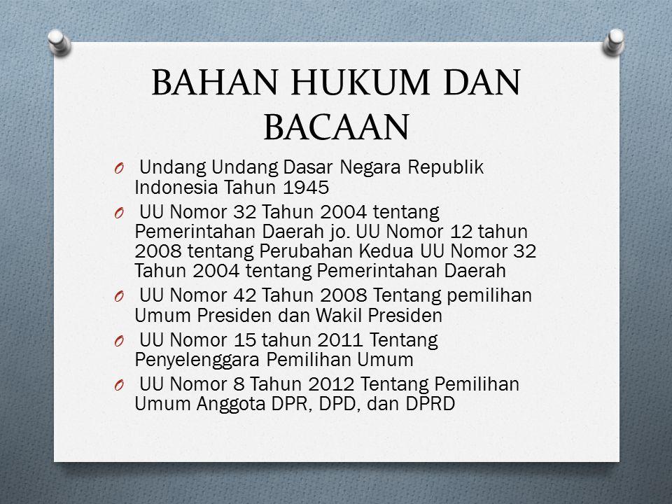 BAHAN HUKUM DAN BACAAN Undang Undang Dasar Negara Republik Indonesia Tahun 1945.