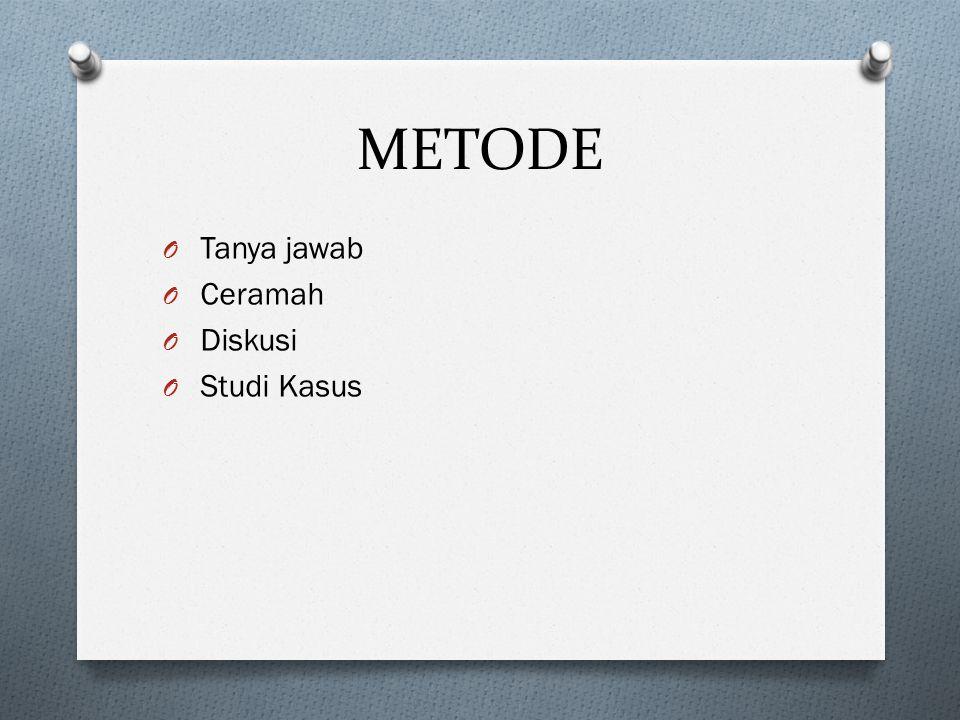 METODE Tanya jawab Ceramah Diskusi Studi Kasus