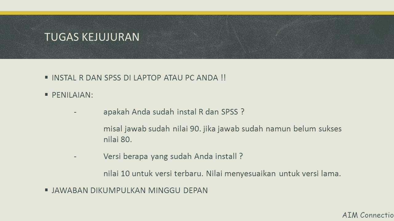 TUGAS KEJUJURAN INSTAL R DAN SPSS DI LAPTOP ATAU PC ANDA !! PENILAIAN: