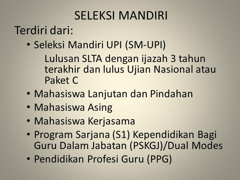 SELEKSI MANDIRI Terdiri dari: Seleksi Mandiri UPI (SM-UPI)