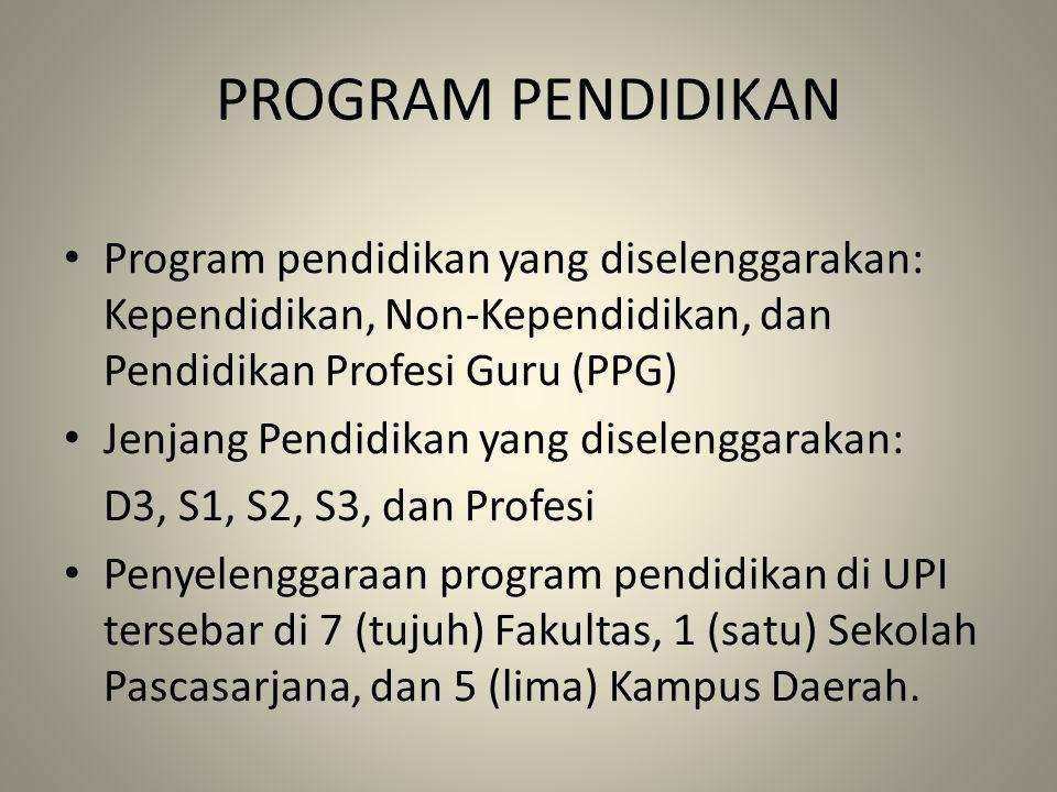 PROGRAM PENDIDIKAN Program pendidikan yang diselenggarakan: Kependidikan, Non-Kependidikan, dan Pendidikan Profesi Guru (PPG)