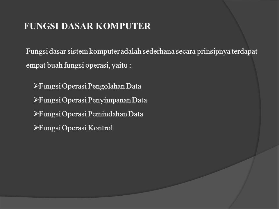 FUNGSI DASAR KOMPUTER Fungsi dasar sistem komputer adalah sederhana secara prinsipnya terdapat empat buah fungsi operasi, yaitu :