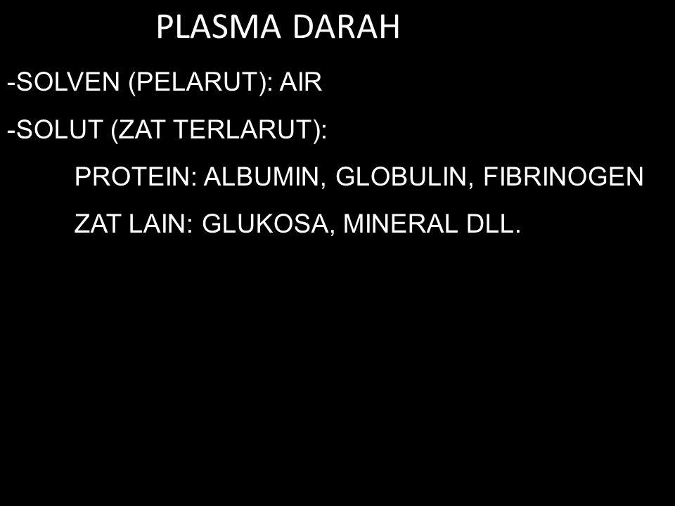 PLASMA DARAH SOLVEN (PELARUT): AIR SOLUT (ZAT TERLARUT):