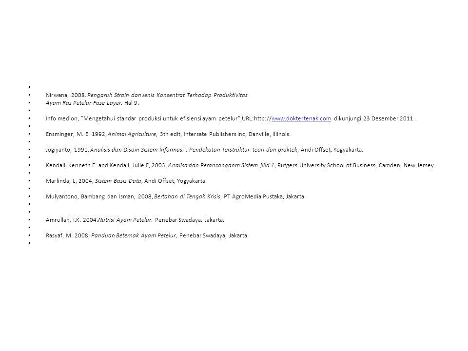 Nirwana, 2008. Pengaruh Strain dan Jenis Konsentrat Terhadap Produktivitas. Ayam Ras Petelur Fase Layer. Hal 9.