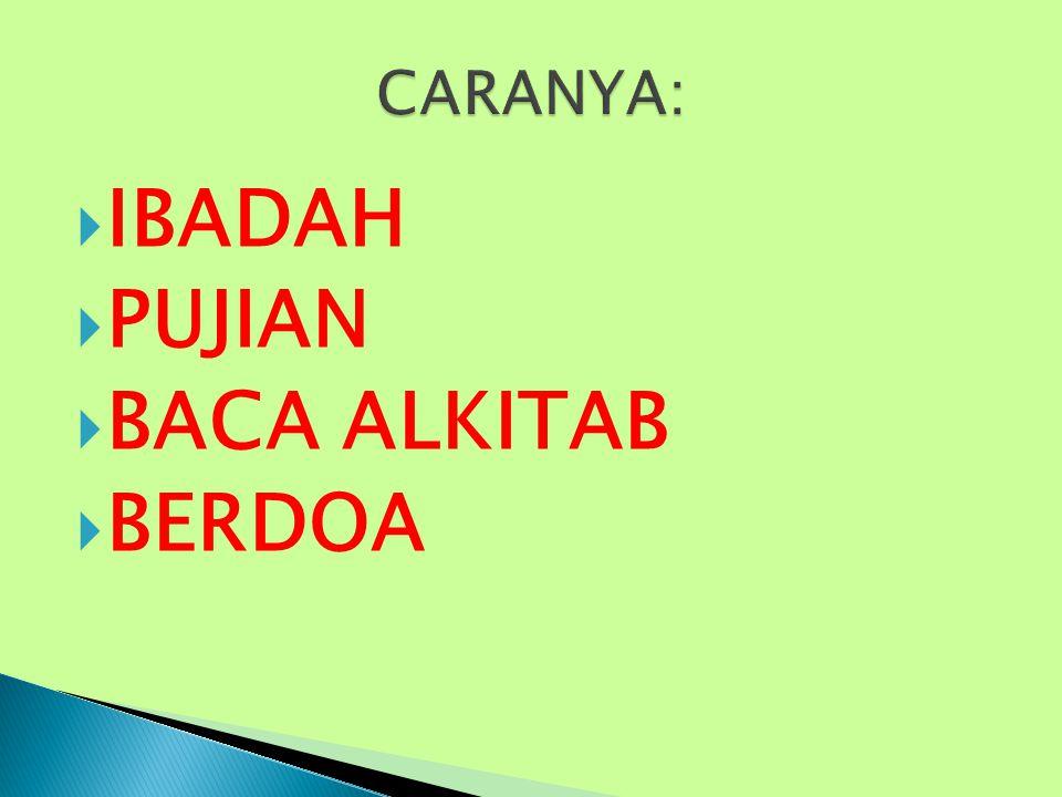 CARANYA: IBADAH PUJIAN BACA ALKITAB BERDOA