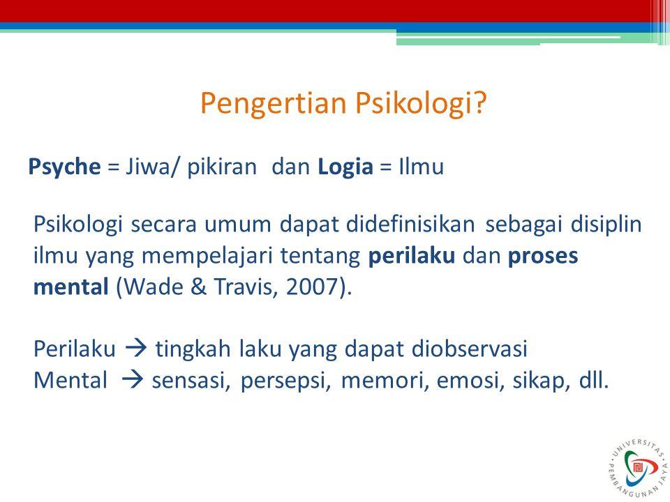 Pengertian Psikologi Psyche = Jiwa/ pikiran dan Logia = Ilmu