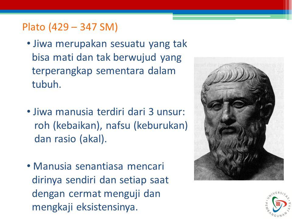 Plato (429 – 347 SM) Jiwa merupakan sesuatu yang tak. bisa mati dan tak berwujud yang. terperangkap sementara dalam.