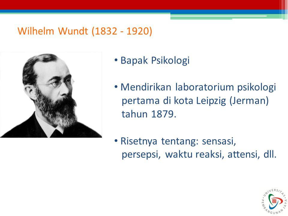 Wilhelm Wundt (1832 - 1920) Bapak Psikologi. Mendirikan laboratorium psikologi. pertama di kota Leipzig (Jerman)
