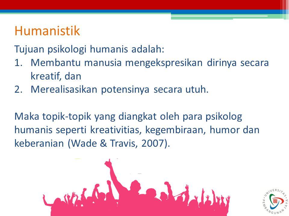 Humanistik Tujuan psikologi humanis adalah: