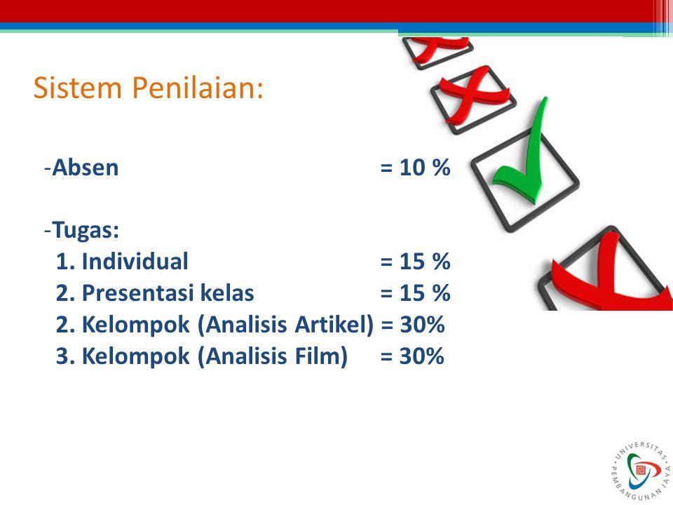 Sistem Penilaian: Absen = 10 % Tugas: 1. Individual = 15 %